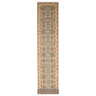 Handmade Herat Oriental Indo Hand-Knotted Kazak Wool Runner (India) - 2'6 x 20'