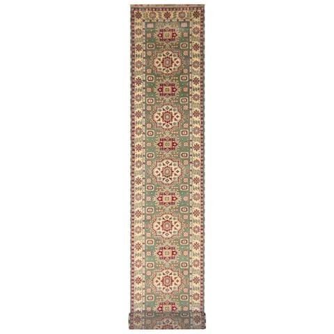 Handmade Kazak Wool Runner (India) - 2'6 x 20'