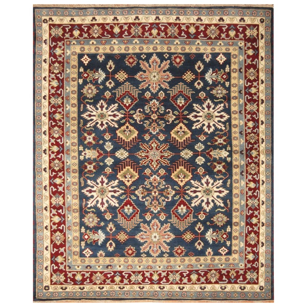 Handmade Herat Oriental Indo Hand-Knotted Kazak Wool Rug - 8' x 10'