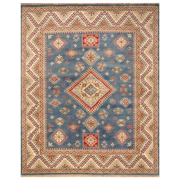 Handmade Herat Oriental Indo Hand-Knotted Kazak Wool Rug - 8' x 10' (India)