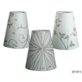 Royal Designs Flower Silhouette Vellum Paper Wine Glass Tea Light Lampshade- Set of 6
