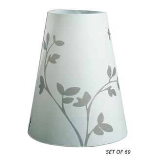 Royal Designs Flower Sprout Silhouette Vellum Paper Wine Glass Tea Light Lampshade- Set of 60