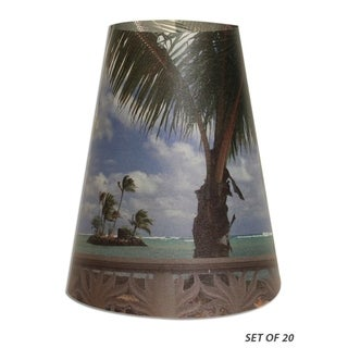 Royal Designs Beach Front Vellum Paper Wine Glass Tea Light Lampshade- Set of 20
