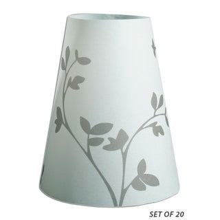 Royal Designs Flower Sprout Silhouette Vellum Paper Wine Glass Tea Light Lampshade- Set of 20
