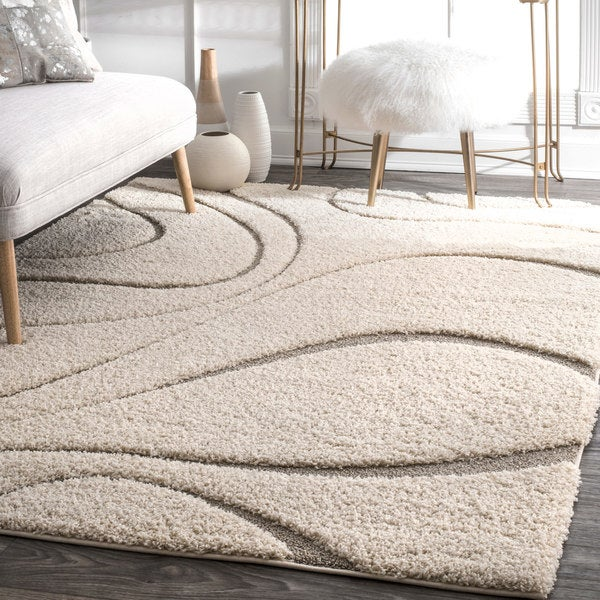 nuLoom Luxuries Cream/Grey Curves Square Shag Area Rug (8' x 8')