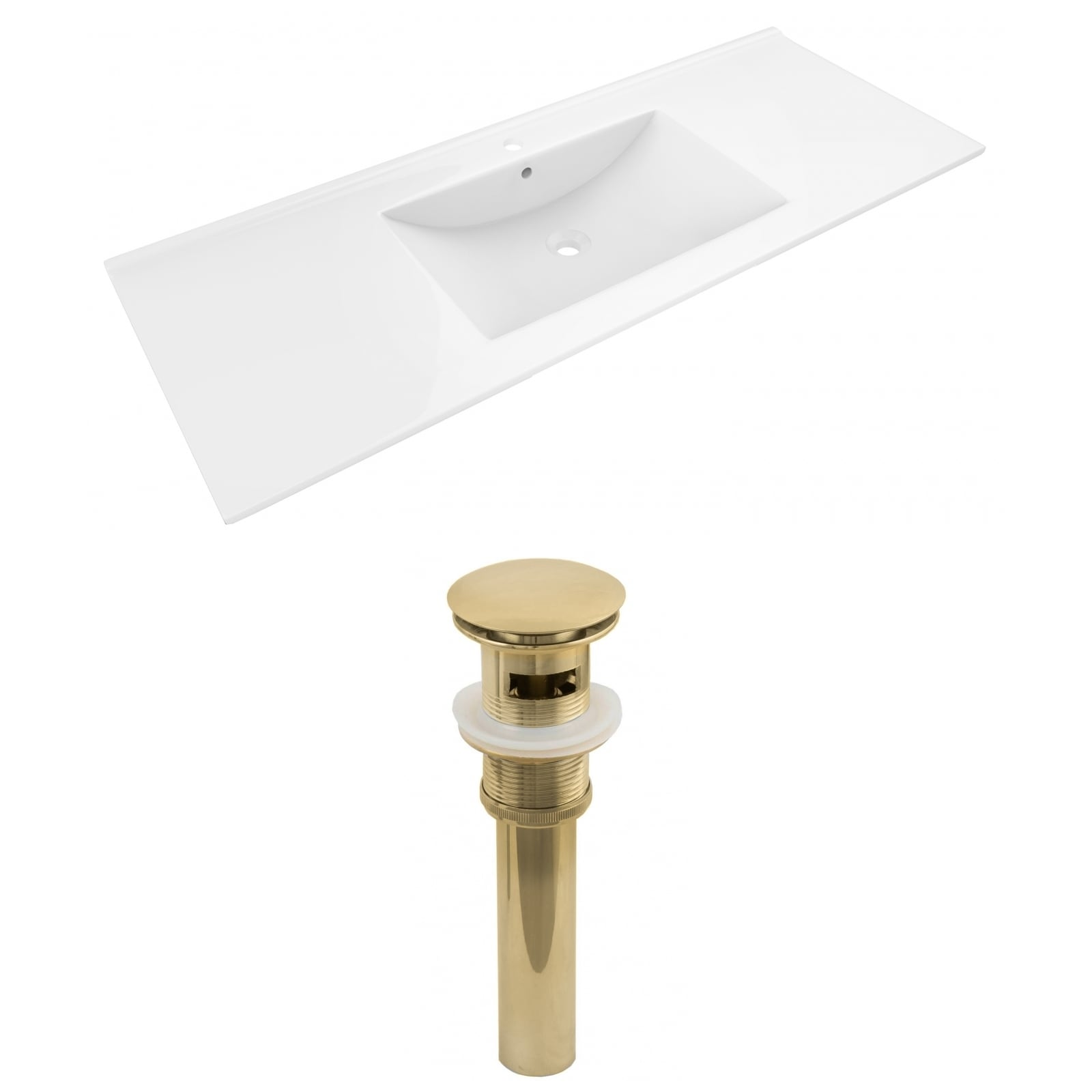 48-in. W 1 Hole Ceramic Top Set In White Color - Overflow Drain Incl.