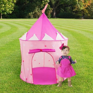 Kids Play Tent, Princess Castle- Pop Playhouse for Indoor/Outdoor, Pink Playroom Toy- Foldable with Carrying Bag by Hey! Play!
