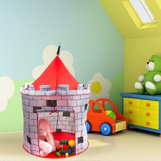 Kids Play Tent, Knight Castle- Pop Up for Indoor/Outdoor, Red and Gray Playroom Toy- Foldable with Carrying Bag by Hey! Play!