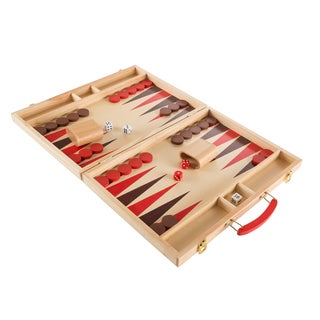 Wood Backgammon Board Game- Complete Set With Folding Board for Storage, Portable Handle, and Full Game by Hey! Play!