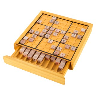 Wood Sudoku Board Game Set- Complete Set With Number Tiles, Wooden Game Board and Puzzle Book- by Hey! Play!