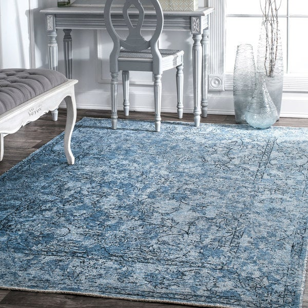 Shop Nuloom Vintage Faded Floral Scroll Border Area Rug