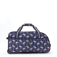Macbeth On Vacay Navy and PIink 21.5-inch Carry On Rolling Duffel Bag