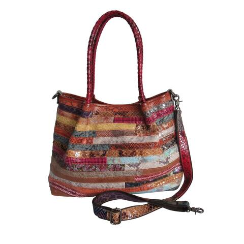 Amerileather Everly Animal Print Rainbow Handbag