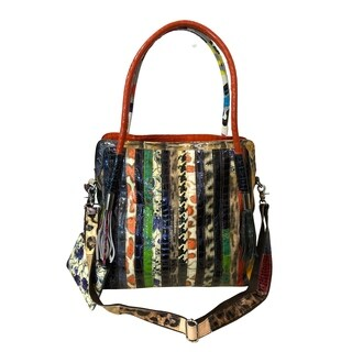 Amerileather Etta Animal Print Leather Tote Bag