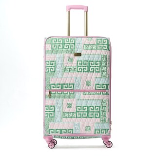 Macbeth PrepSet Green and Pink 28-inch Quilted Spinner Suitcase
