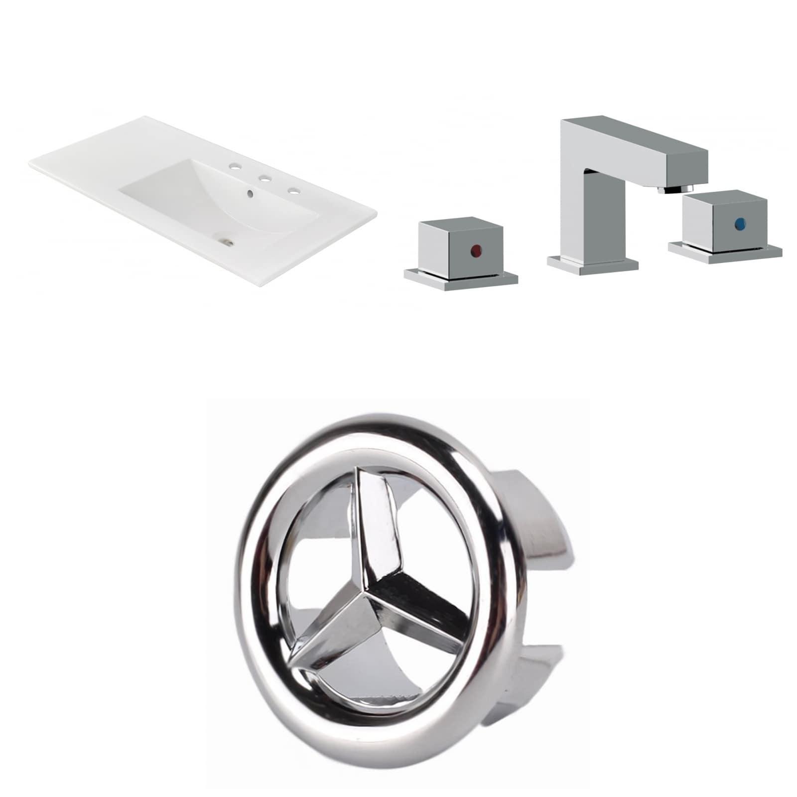 35.5-in. W 3H8-in. Ceramic Top Set In White Color - CUPC Faucet Incl.