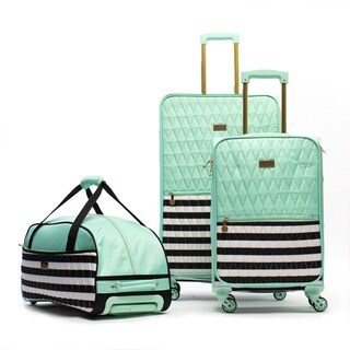 Macbeth Madison Mint 3-piece Quilted Spinner Luggage Set