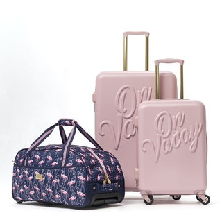 Macbeth On Vacay Pink 3-piece Hardside Spinner Luggage Set
