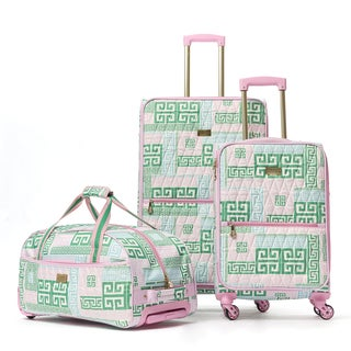 Macbeth Collection PrepSet Green and Pink 3-piece Quilted Spinner Luggage Set