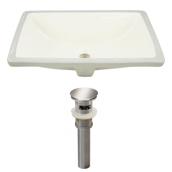 20.75-in. W CSA Rectangle Undermount Sink Set In Biscuit - Brushed Nickel Hardware - Overflow Drain Incl. 32509358