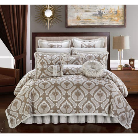 Chic Home Felicci Beige Faux Silk Bedding with Pleated Flange 9 Piece Comforter Set