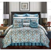 Chic Home Felicci Blue Faux Silk Bedding with Pleated Flange 9 Piece Comforter Set