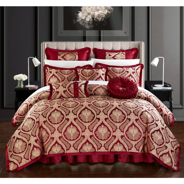 Chic Home Felicci Red Faux Silk Bedding With Pleated Flange 9 Piece  Comforter Set