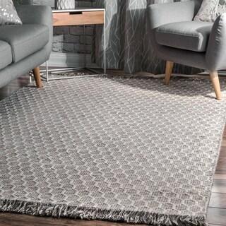 nuLOOM Grey Contemporary Handmade Flatweave Honeycomb Wool/ Cotton Tassel Area Rug