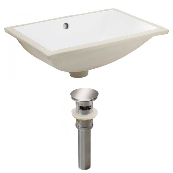 20.75-in. W CSA Rectangle Undermount Sink Set In White - Brushed Nickel Hardware - Overflow Drain Incl. 32509729
