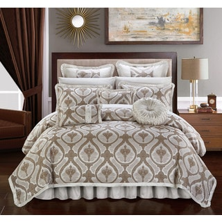 Chic Home Felicci Beige Faux Silk with Pleated Flange 13 Piece Comforter Set Bed in a Bag