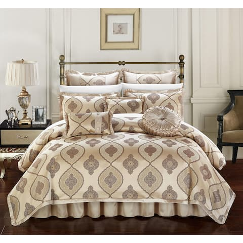 Chic Home Felicci Gold Faux Silk with Pleated Flange 13 Piece Comforter Set Bed in a Bag