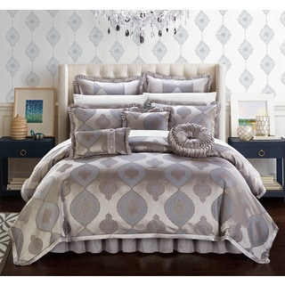 Chic Home Felicci Taupe Faux Silk with Pleated Flange 13 Piece Comforter Set Bed in a Bag