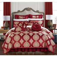 Chic Home Felicci Red Faux Silk with Pleated Flange 13 Piece Comforter Set Bed in a Bag