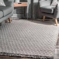 nuLOOM Grey Contemporary Handmade Flatweave Honeycomb Wool/ Cotton Tassel Area Rug (7' 6 x 9' 6)
