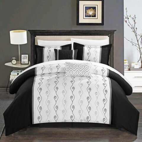 Chic Home Yohan Black Color Block Embroidered 6 Piece Comforter Set