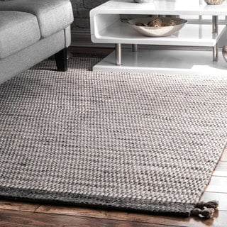 nuLOOM Grey Contemporary Handmade Flatweave Alternate Stripes Wool/Cotton Tassel Area Rug