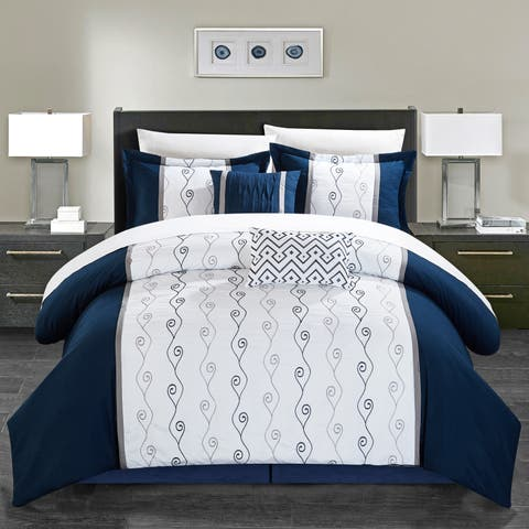 Chic Home Yohan Navy Color Block Embroidered 6 Piece Comforter Set
