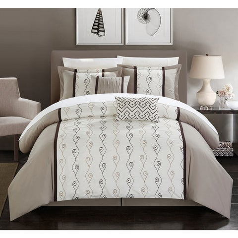 Chic Home Yohan Beige Color Block Embroidered 6 Piece Comforter Set