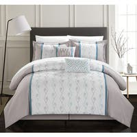 Chic Home Yohan Grey Color Block Embroidered 6 Piece Comforter Set