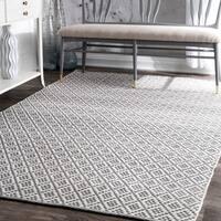 nuLOOM Handmade Flatweave Moroccan Trellis Cotton Grey Rug - 4' x 6'