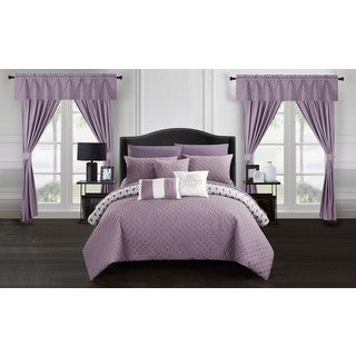 Chic Home Liron 20 Piece Lavender Comforter Set Reversible Bed in a Bag