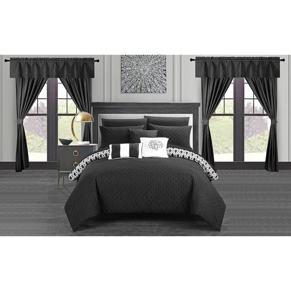 Chic Home Liron 20 Piece Black Comforter Set Reversible Bed in a Bag