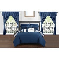 Chic Home Liron 20 Piece Navy Comforter Set Reversible Bed in a Bag