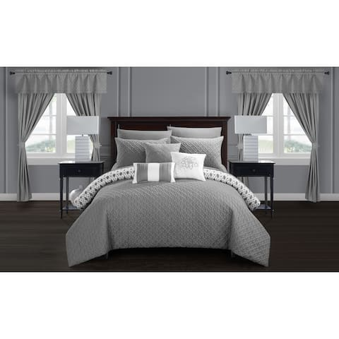 Chic Home Liron 20 Piece Grey Comforter Set Reversible Bed in a Bag