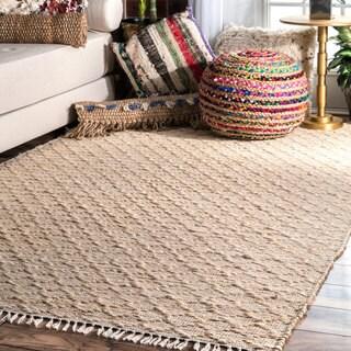 nuLOOM Natural Jute/Cotton Handmade Tassel Area Rug