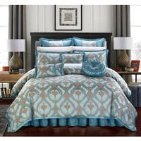 Chic Home Felicci Blue Faux Silk with Pleated Flange 13 Piece Comforter Set Bed in a Bag