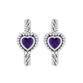 Brass Filigree Heart-shaped Purple Amethyst Earrings