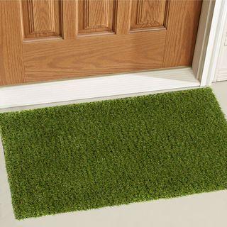 Well Woven Artificial Grass Indoor/Outdoor Turf Green Mat Accent Rug - 2' x 3'