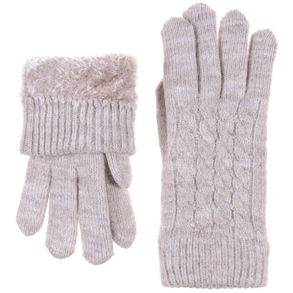 Solid Plush Lined Cuffed Winter Knit Mittens