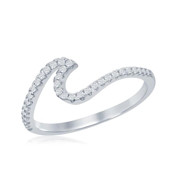 Wave Design Bands: Shop La Preciosa Sterling Silver Cubic Zirconia Wave
